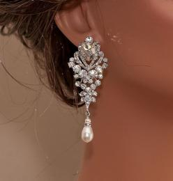 Wedding Rhinestone and Pearl Earrings, Handmade by Olinibridal.com  Choose Your finish and pearl color: