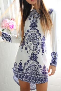 White and Blue Mixed Mosaic Women's Dress