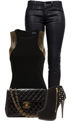 """Gold and Black"" by fashion-766 on Polyvore Clothes Casual Outift for • teens • movies • girls • women •. summer • fall • spring • winter • outfit ideas • dates • parties Polyvore :) Catalina Christiano: Chic Outfit, Party Night Outfit, Sexy Party"