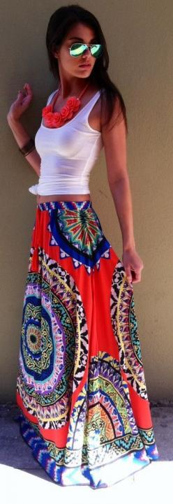 Bohemian Print Skirt... I want this so bad: Summer Outfit, Statement Necklace, Maxiskirt, Spring Summer, Maxi Skirts