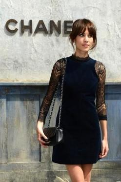 Chanel: Front Row - Paris Fashion Week Haute-Couture F/W 2013-2014 #alexachung: Black Lace, Lace Sleeve, Fashion Week, Little Black Dress, Alexa Chung