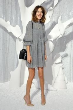 Chanel: Front Row - Paris Fashion Week Spring / Summer 2012-alexa: Alexa Chung Fashion, Paris Fashion Week, Cute Dresses, Alexa Chung Dress, Alexa Chung Summer, General Alexa, Grey Dresses, Winter Dresses