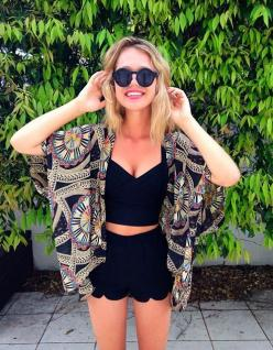 Essena O'Neill wearing the Hightail Playsuit and Bandaged Crop Black | Beginning Boutique: Black Shorts, Summer Fashion, Summer Outfit, Black Crop Top, Scalloped Shorts, Summer Style, Street Style, Spring Summer, Summer Concert Outfit