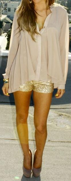 Gold shorts. Sheer shirt.: Glitter Shorts, Sheer Top, Dream Closet, Gold Shorts, Summer Night, Sparkle Shorts, Sequin Shorts