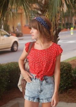 High waisted shorts, crop top, headband.: Cute Outfits, Summer Outfits, Fashion Inspiration, Hair, Crop Top