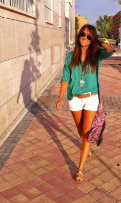 I'm rethinking my aversion to white shorts right about now...cute color combo with the teal quarter sleeve shear blouse: Color Combos, Green Top, White Shorts Summer Outfits, Shorts Outfits, Casual Summer Outfits, Quarter Sleeve, Tops Color, Entire Ou