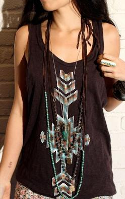 love the tank top...this would make me look a little more like I DO belong to Grandma Janie.: Embellished Tanks, Gypsy Fashion, Boho Bohemian, Hippie Boho, Bohemian Style, Boho Style, Navajo Style, Gorgeous Shirt
