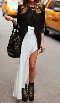 maxi | black and white: Fashion Style, Style Inspiration, Street Style, Maxiskirt, White Outfit
