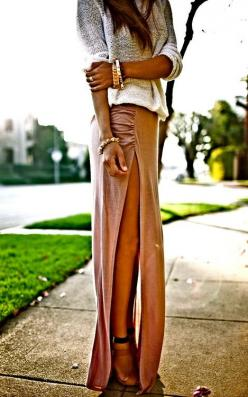 maxi with maximum slit power ... looks a little stretched but the skirt is cute - i like the gather at the side: Long Maxi Skirt, Thigh High, Dream Closet, High Slit, Long Skirts, Spring Summer, Maxiskirt, Slit Maxi, Maxi Skirts