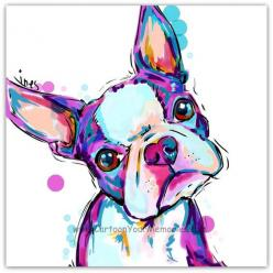 My litte Boston Terrier  art print by cartoonyourmemories on Etsy, $10.00: Colorful Dog Painting, Boston Terrier Gift, Dog Art