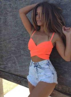 -Neon Coral Crop Top & high waist shorts !!! JUST the top for vegas this weekend with black skirt or shorts :): Neon Crop, Crop Tops, Dream Closet, High Waisted Shorts, Summer Outfits, Croptop, High Waist Short, Hair Color