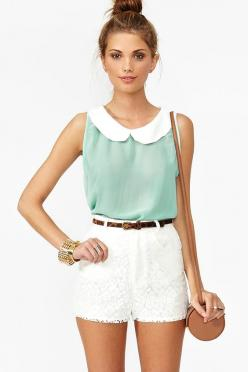    # Pin++ for Pinterest #: White Shorts, Peter O'Toole, Chiffon Top, Dream Closet, High Waisted Shorts, Peter Pan Collars, Spring Summer, Summer Outfits, White Lace Shorts