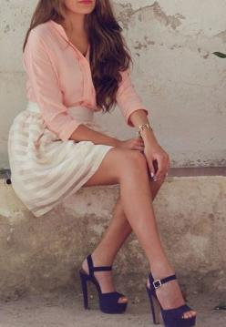 pink blouse with cream striped skirt and oh how I love those shoes: Summer Outfit, Fashion Style, Dream Closet, Spring Summer, Navy Heels, Striped Skirts, Spring Outfit
