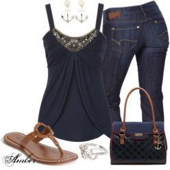 Simple Spring outfit. The detail on the top is nice and draws the eyes up. I love the wash of the jeans and they appear to have good pocket size and placement. The sandals speak for themselves -- casual and chic. @amandabde: Casual Outfit, Cute Tops, Navy