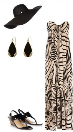 Styled: Chic beach day style / bandeau maxi dress / black + gold earrings / black wedge sandals / floppy hat / fashion inspiration: Maxi Dresses, Maxi S, Beach Day, Black Floppy Hats, Styled Chic, Black Wedge Sandals, Beach Styles, Cabo Outfits, Black Wed