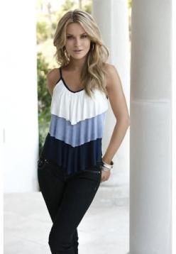 TIERED STRIPE AND SOLID V-NECK CAMI: Club Dresses, Tiered Stripe, Cute Tops, Tank Tops, Dream Closet, Club Tops, Tanktop, Summer Clothes, Summer Tops