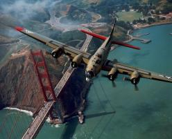 B-17 Flying Fortress over San Francisco Bay - I want to be the photographer that takes these!