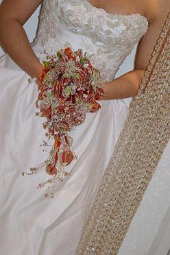 """Bridal Bouquet French Beaded with Swarovski Crystals, Cascade Style - """"CERISE"""""""