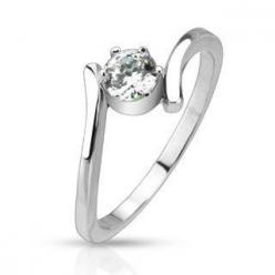 Cherish - Twirl Design Stainless Steel with Round-Cut Solitaire Cubic Zirconia Engagement Ring. #BuyBlueSteel #EngagementRings