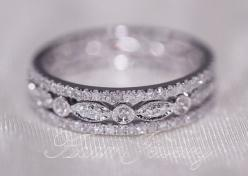 Discount 3 Full Eternity Bands 14k White Gold Wedding Ring  Diamonds Ring/  Engagement Ring/ Promise Ring