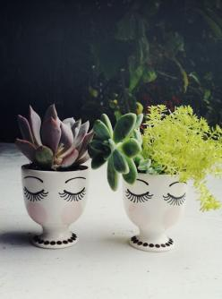 Egg Cup Planters - use sharpies and enamel paint & bake at 350 for 30 minutes !! how cute & easy is that!?