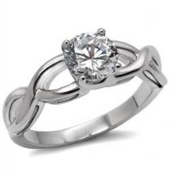 Keeper – White Round-Cut Cubic Zirconia Criss-Cross Style Engagement Ring in Stainless Steel