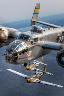 North American B-25 Mitchell bomber Miss Mitchell flanked by a pair of North American P-51 Mustangs, Gunfighter (foreground) and Angel's Playmate.: Air Force, P 51D Mustangs, P 51 Mustangs, Angel S Playmate, Mitchell Bomber, B 25 Mitchell, English Cha
