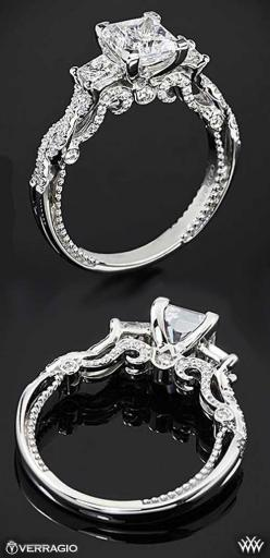 OMG SO BEAUTIFUL.  The intricate stylings of Verragio | Princess Cut Engagement Ring | bridesandrings.com
