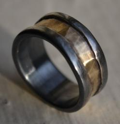 rustic fine silver and 14k yellow gold ring - handmade oxidized artisan designed wedding or engagement band - customized
