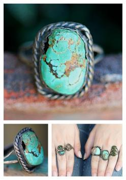 Rustic Navajo Ring Natural Turquoise Sterling Silver Boho – Yourgreatfinds