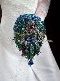This is what I want!! Peacock Wedding Brooch Bouquet. Deposit  Royal by Rubybloomscom, $350.00