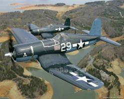 "Vought F4U Corsair, another big radial engine fighter, fast and deadly. The Japanese referred to it as ""whistling death"""