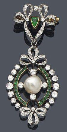 An early 20th century diamond, emerald and pearl pendant/brooch, circa 1910 The brooch surmount composed of a diamond-set double ribbon-bow motif with central triangular-cut emerald accent, suspending an oval pendant centred by an 8.8mm. bouton-shaped pea