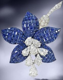 Happy Birthday to me. LOL A sapphire and diamond 'Fuschia' brooch, by Van Cleef & Arpels, 1987.