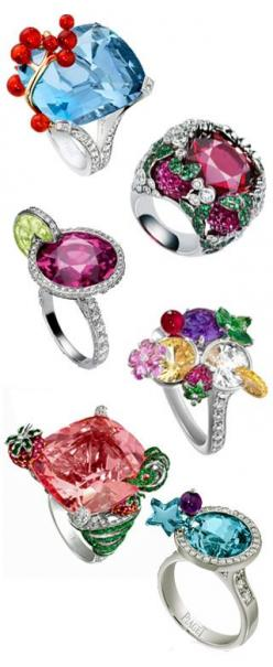 Piaget Cocktail Rings!! So fun. Check out their website: http://www.piaget.com/jewellery/white-gold-tourmaline-diamond-ring-g34lm500