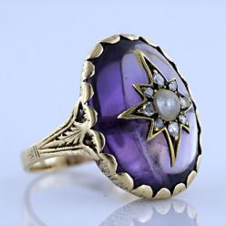 Victorian Amethyst, Pearl And Diamond Ring, 1860's: Amethysts, Diamond Rings, Diamonds, Pearls, Jewels, Vintage Jewelry