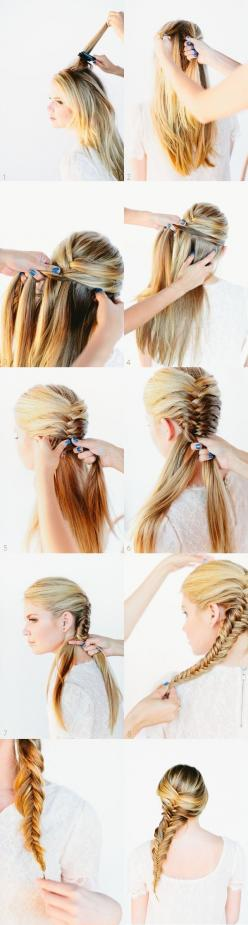 15 Cute hairstyles for 2014: Step-by-Step Hairstyles with Long Hair: Hairstyles, Fashion, Hair Tutorials, Hair Styles, Long Hair, Fishtail Braid Tutorial, Fishtail Braids, Diy