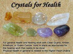Crystals for Health - Clear Quartz, Amber, Amethyst, Green Calcite.