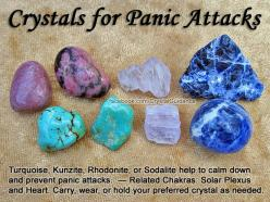 Crystals for Panic Attacks — Turquoise, Kunzite, Rhodonite, or Sodalite help to calm down and prevent panic attacks. Carry, wear, or hold your preferred crystal as needed. — Related Chakras: Solar Plexus and Heart.: Gemstone, Healing Crystals, Crystals St