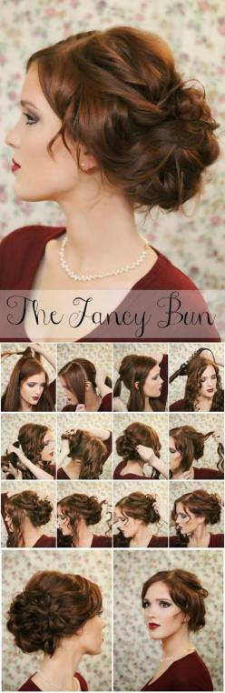 Easy Simple Knotted Bun Updo Hairstyle Tutorials :Wedding Hairstyle | Haircuts & Hairstyles for short long medium hair: Hairstyles, Wedding Hair, Fancy Bun, Hair Styles, Updo
