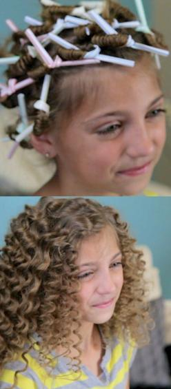 How cute! Use drinking straws to get super curly hair.I so would LOVE to do this with babee girls hair...however...well you know..: Curly Hair Do, Straw Curl, Curly Perm, Cute Girl Hairstyle, Super Curly, Hair Style, Curly Hair Tutorial