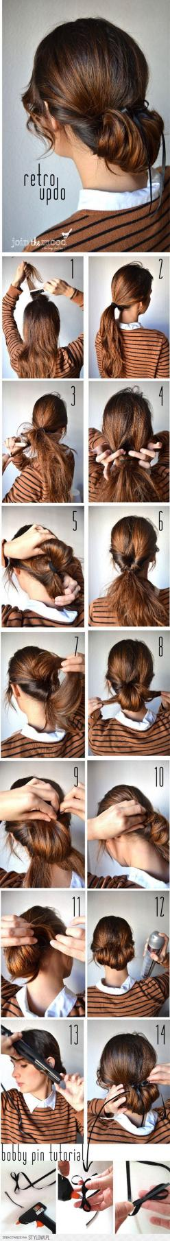Updo for longer hair.: Updo Hairstyle, Retro Updo, Hairstyles, Hair Styles, Hair Tutorial, Makeup, Beauty, Bobby Pin