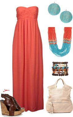 """""""Orange/Turquoise maxi"""" by jayneann1809 on Polyvore"""