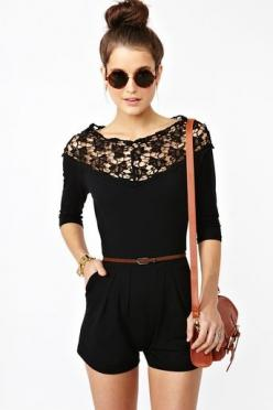 "Acceptable ""all black"" summer outfit for work? I think so (okay, maybe not): Lace Romper, Black Lace, Summer Fashion, Summer Outfit, Black Romper, Dream Closet, Lace Top, Cute Rompers"