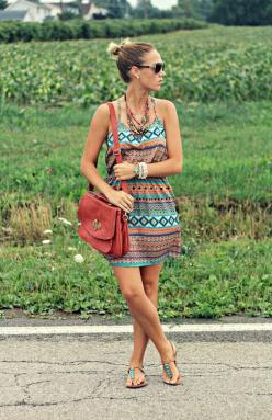 Boho Chic: love everything about this look http://www.studentrate.com/fashion/fashion.aspx: Summer Fashion, Summer Dresses, Summer Dress, Spring Summer, Summer Outfits, Aztec Dress