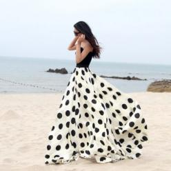 Charming Chiffon Polka Dot Pattern Long Maxi Skirts Black&White. lots of cool stuff on this site. no idea where i would wear this dress, but it's so cool!: Chiffon Skirt, Long Maxi Skirt, Polkadot, Maxiskirt, Polka Dot Skirt, Polka Dot Dress