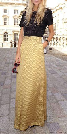 gorgeous gold maxi skirt + black lace top. Great alternative to a little black dress for a night out