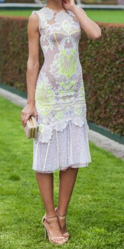 J'Aton Couture - love the feminine white but with a pop of neon: Summer Dress, Rehearsal Dinners, Gorgeous Dress, Neon Lace, Lace Dresses