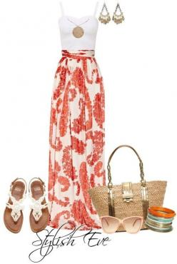 Long Maxi Skirt Outfit. Follow me on instagram @cutsiepie2: Summer Dress, Beach Outfit, Summer Outfit