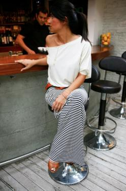 Love the striped maxi skirt and over-sized t-shirt combo with a thick leather belt to pull it all together. Perfect for a summer night at a casual bar.: Striped Maxi Skirts, Spring Summer, Shoulder Top, Stripe Skirt, Summer Night